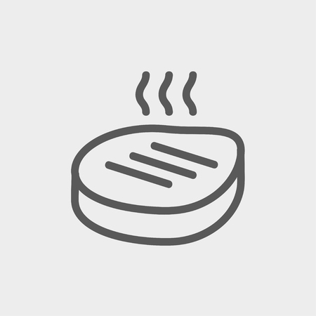 Grilled steak icon thin line for web and mobile, modern minimalistic flat design. Vector white icon on gradient mesh background. Illustration