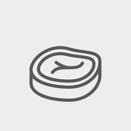 flank: Sliced pork meat icon thin line for web and mobile, modern minimalistic flat design. Vector dark grey icon on light grey background.