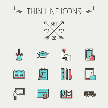 Education thin line icon set for web and mobile. Set includes- - graduation cap, notepad with pen, certificate, bell, book, music book,teacher, blackboard, school supplies icons. Modern minimalistic flat design. Vector icon with dark grey outline and offs Vector