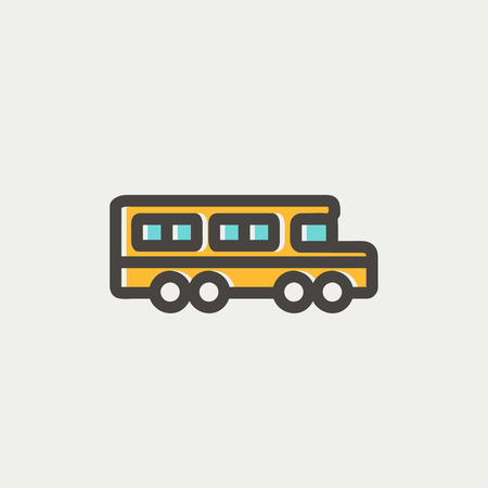 School bus icon thin line for web and mobile, modern minimalistic flat design. Vector icon with dark grey outline and offset colour on light grey background.