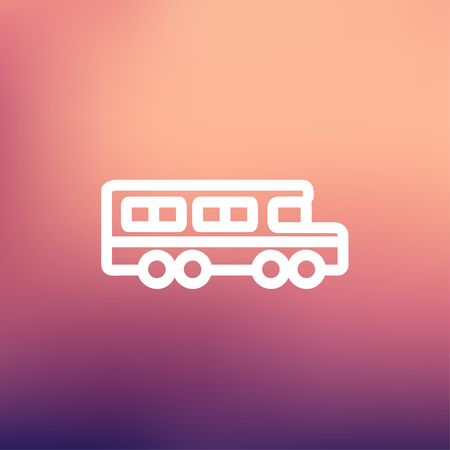 back view student: School bus icon thin line for web and mobile, modern minimalistic flat design. Vector white icon on gradient mesh background.