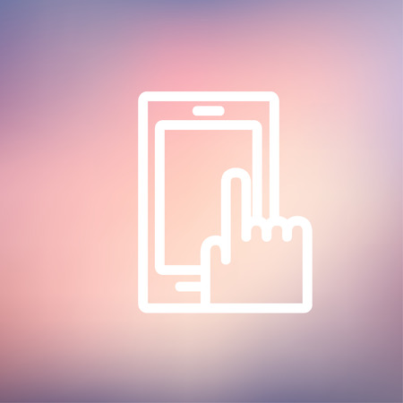 mobile phone icon: Mobile phone icon thin line for web and mobile, modern minimalistic flat design. Vector white icon on gradient mesh background.