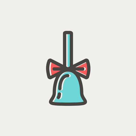 resonate: School bell with ribbon icon thin line for web and mobile, modern minimalistic flat design. Vector icon with dark grey outline and offset colour on light grey background.