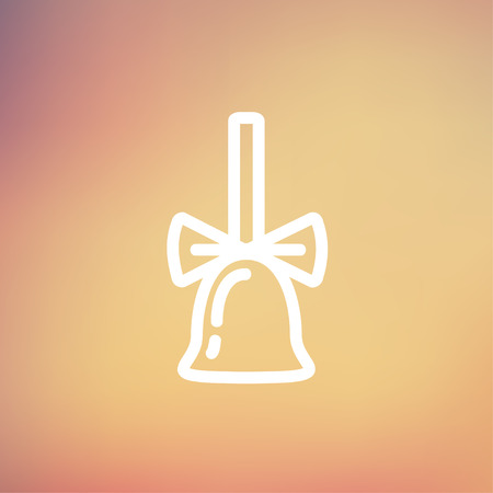 resonate: School bell with ribbon icon thin line for web and mobile, modern minimalistic flat design. Vector white icon on gradient mesh background.
