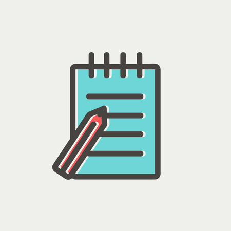 writing pad: Writing pad and pen icon thin line for web and mobile, modern minimalistic flat design. Vector icon with dark grey outline and offset colour on light grey background. Illustration