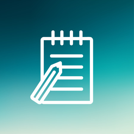 spiral notebook: Writing pad with pen icon thin line for web and mobile, modern minimalistic flat design. Vector white icon on gradient mesh background. Illustration