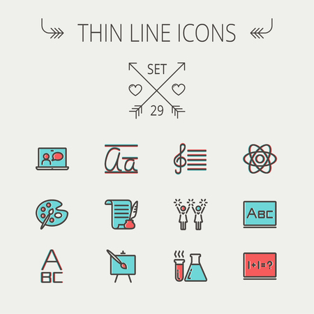 medical supplies: Education thin line icon set for web and mobile. Set includes-palette and paint brush, alphabet, notepad, chart, cheerleaders, medical, supplies  icons. Modern minimalistic flat design. Vector icon with dark grey outline and offset colour on light grey ba