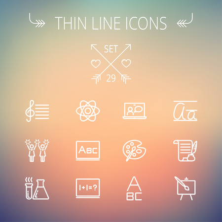Education thin line icon set for web and mobile. Set includes-palette and paint brush, alphabet, notepad, chart, cheerleaders, medical, supplies  icons. Modern minimalistic flat design. Vector white icon on gradient mesh background. Stock Vector - 39497787