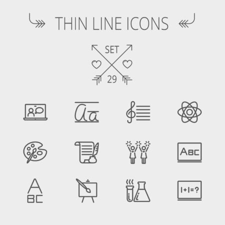 Education thin line icon set for web and mobile. Set includes- palette and paint brush, alphabet, notepad, chart, cheerleaders, medical, supplies icons. Modern minimalistic flat design. Vector dark grey icon on light grey background.