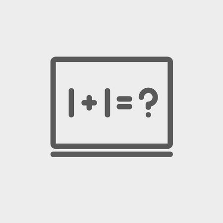 Numbers on the blackboard icon thin line for web and mobile, modern minimalistic flat design. Vector dark grey icon on light grey background.