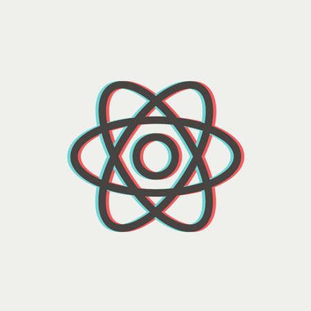fission: Atom icon thin line for web and mobile, modern minimalistic flat design. Vector icon with dark grey outline and offset colour on light grey background. Illustration