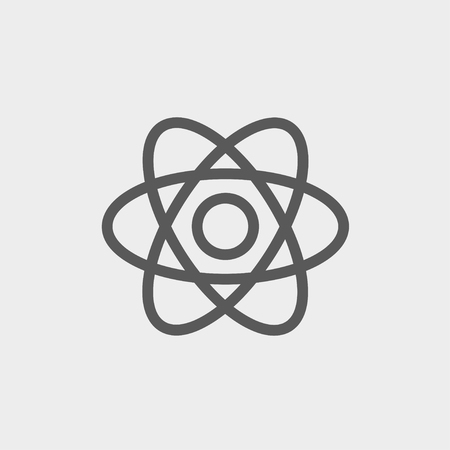 fission: Atom icon thin line for web and mobile, modern minimalistic flat design. Vector dark grey icon on light grey background.