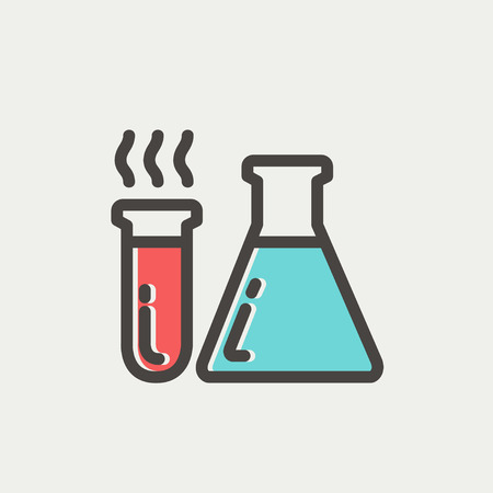 toxic substance: Lab supplies icon thin line for web and mobile, modern minimalistic flat design. Vector icon with dark grey outline and offset colour on light grey background.