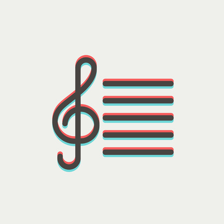 crotchets: Musical note icon thin line for web and mobile, modern minimalistic flat design. Vector icon with dark grey outline and offset colour on light grey background. Illustration