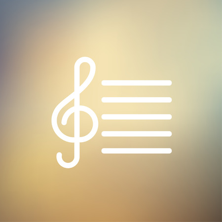 crotchets: Musical note icon thin line for web and mobile, modern minimalistic flat design. Vector white icon on gradient mesh background.