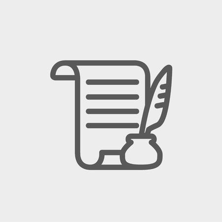 schriftrolle: Papierrolle mit Feder Stift-Symbol dünne Linie für Web und Mobile, modern minimalistisch flache Bauweise. Vector dunkelgrau-Symbol auf hellgrauem Hintergrund.