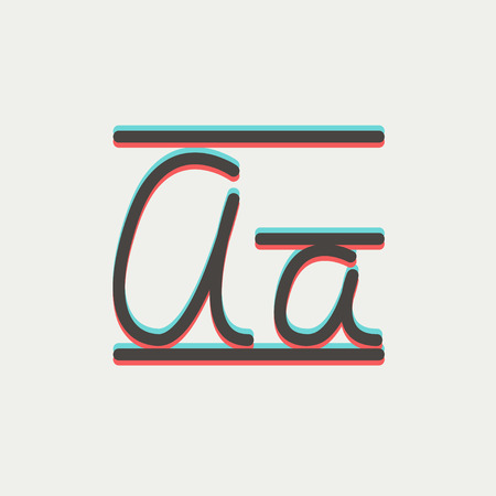 cursive: Cursive letter a icon thin line for web and mobile, modern minimalistic flat design. Vector icon with dark grey outline and offset colour on light grey background. Illustration