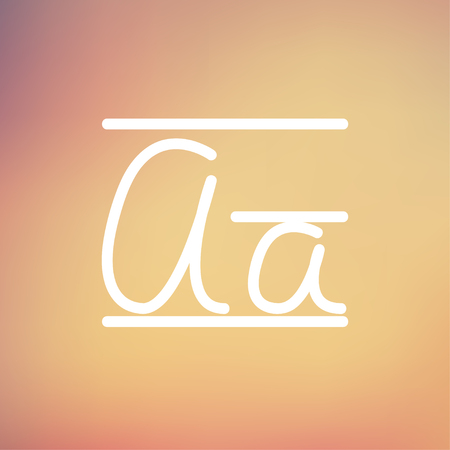 Cursive letter a icon thin line for web and mobile, modern minimalistic flat design. Vector white icon on gradient mesh background. Illustration