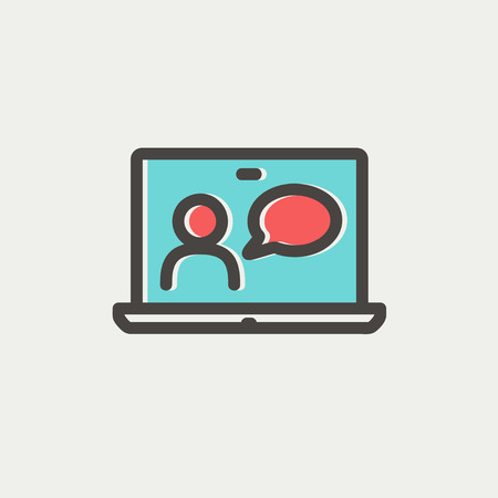 chat online: Video chat online icon thin line for web and mobile, modern minimalistic flat design. Vector icon with dark grey outline and offset colour on light grey background. Illustration