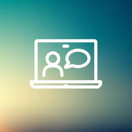 business meeting: Video chat online icon thin line for web and mobile, modern minimalistic flat design. Vector white icon on gradient mesh background. Illustration