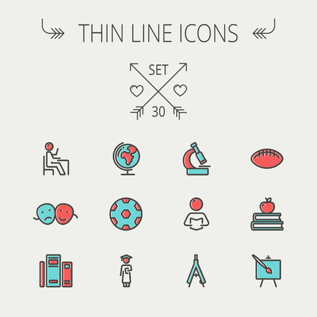 Education thin line icon icon set for web and mobile. Set includes-apple, books, binders, football ball, mask, global icons. Modern minimalistic flat design. Vector icon with dark grey outline and offset colour on light grey background Vector