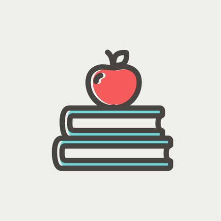 fresh graduate: Three books with apple on the top icon thin line for web and mobile, modern minimalistic flat design. Vector icon with dark grey outline and offset colour on light grey background.