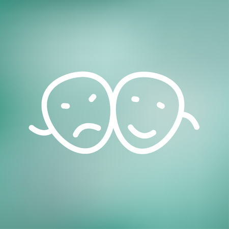pessimistic: Two masks icon thin line for web and mobile, modern minimalistic flat design. Vector white icon on gradient mesh background.