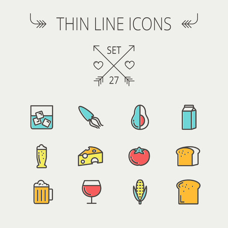 Food and drink thin line icon set for web and mobile. Set includes - fresh milk, bread, cheese, squid icons. Modern minimalistic flat design. Vector icon with dark grey outline and offset colour on light grey background