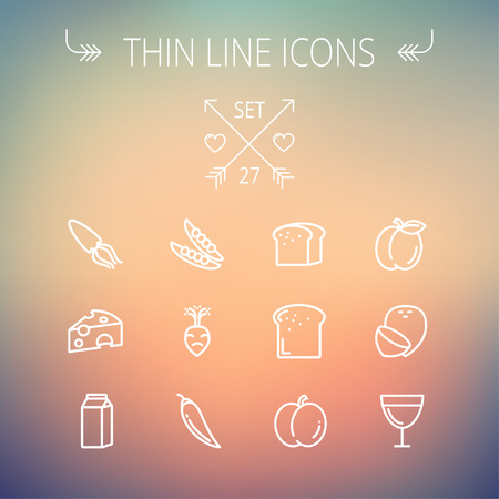 Food and drink thin line icon set for web and mobile. Set includes- fresh milk, bread, cheese, squid icons. Modern minimalistic flat design. Vector white icon on gradient mesh background. Illustration