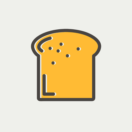 french toast: Single slice of bread icon thin line for web and mobile, modern minimalistic flat design. Vector icon with dark grey outline and offset colour on light grey background.
