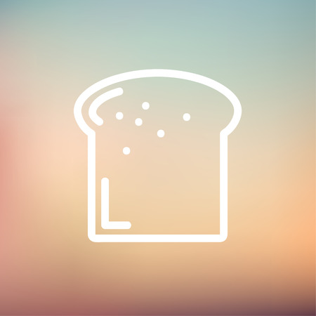 Single slice of bread icon thin line for web and mobile, modern minimalistic flat design. Vector white icon on gradient mesh background. Vector