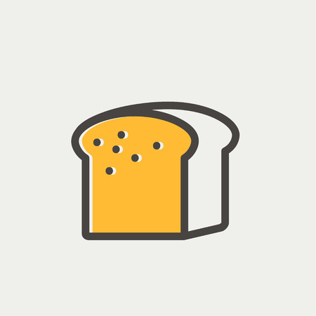 wholemeal: Small size loaf of bread icon thin line for web and mobile, modern minimalistic flat design. Vector icon with dark grey outline and offset colour on light grey background.