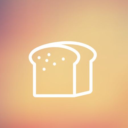 small size: Peque�o pan tama�o del icono de pan delgada l�nea para web y m�vil, dise�o plano minimalista moderno. Vector icono blanco sobre fondo de malla de degradado.