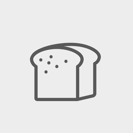 art piece: Small size loaf of bread icon thin line for web and mobile, modern minimalistic flat design. Vector dark grey icon on light grey background.