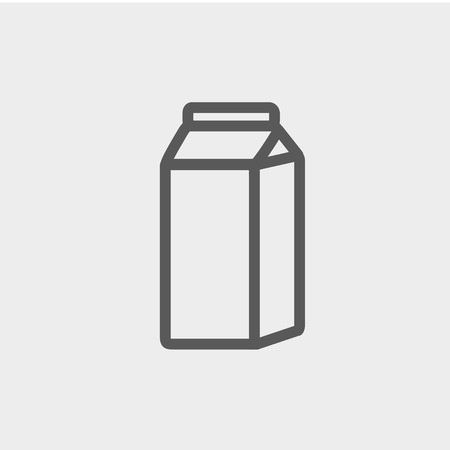 cold pack: Fresh milk in a box icon thin line for web and mobile, modern minimalistic flat design. Vector dark grey icon on light grey background. Illustration