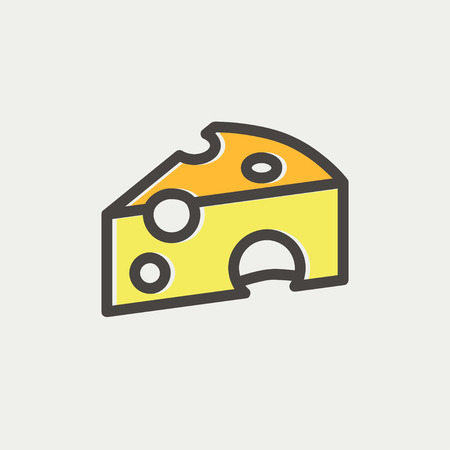 grated cheese: Piece of cheese icon thin line for web and mobile, modern minimalistic flat design. Vector icon with dark grey outline and offset colour on light grey background.
