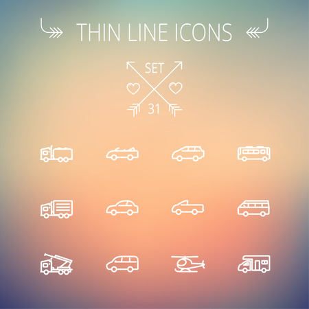 Transportation thin line icon set for web and mobile. Set includes- bus, cars, van, helicopter, camper van icons. Modern minimalistic flat design. Vector white icon on gradient mesh background. Vector