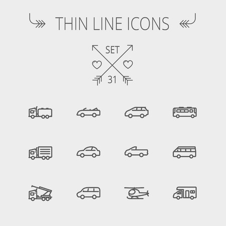 Transportation thin line icon set for web and mobile. Set includes- bus, cars, van, helicopter, camper van icons. Modern minimalistic flat design. Vector dark grey icon on light grey background. Vector