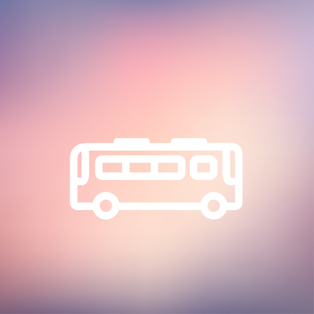 Bus icon thin line for web and mobile, modern minimalistic flat design. Vector white icon on gradient mesh background. Vector