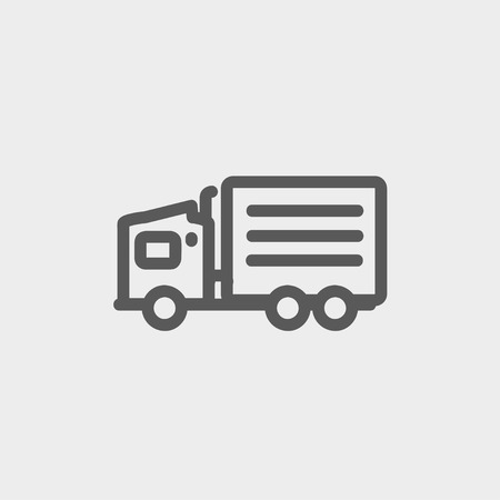 Delivery truck icon thin line for web and mobile, modern minimalistic flat design. Vector dark grey icon on light grey background. Vector
