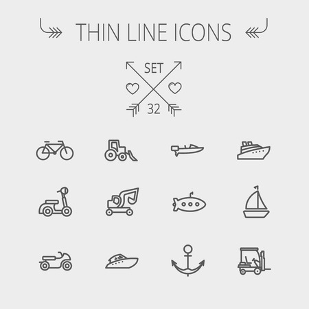 motor boat: Transportation thin line icon set for web and mobile. Set includes- golf cart, trucks, motor, boat, submarine, anchor icons. Modern minimalistic flat design. Vector dark grey icon on light grey background.