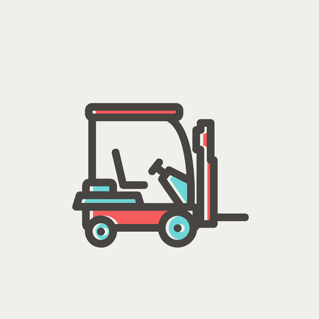 Golf cart icon thin line for web and mobile, modern minimalistic flat design. Vector icon with dark grey outline and offset colour on light grey background. Vector