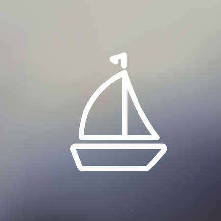 wharf: Sailboat icon thin line for web and mobile, modern minimalistic flat design. Vector white icon on gradient mesh background.