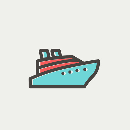 Cruise ship icon thin line for web and mobile, modern minimalistic flat design. Vector icon with dark grey outline and offset colour on light grey background.