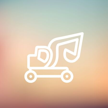 dredger: Excavator truck icon thin line for web and mobile, modern minimalistic flat design. Vector white icon on gradient mesh background.