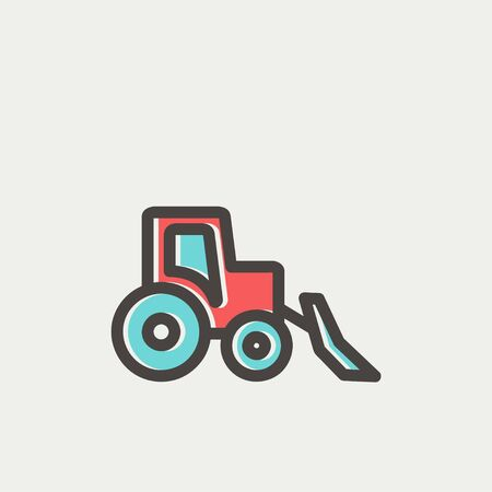 Bulldozer icon thin line for web and mobile, modern minimalistic flat design. Vector icon with dark grey outline and offset colour on light grey background.