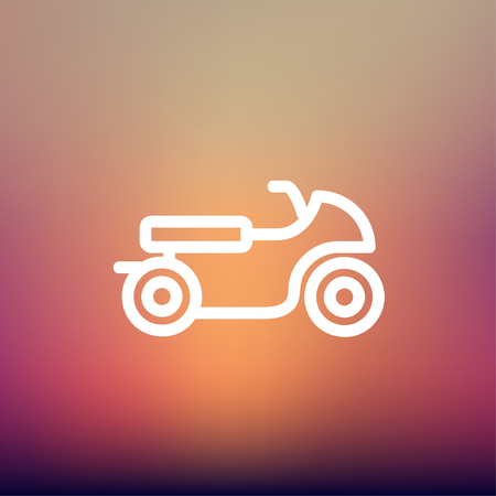 Motor icon thin line for web and mobile, modern minimalistic flat design. Vector white icon on gradient mesh background. Vector