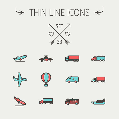 Transportation thin line icon set for web and mobile. Set include- fire truck, trucks, plane, ships, hot air balloon icons. Modern minimalistic flat design. Vector icon with dark grey outline and offset colour on light grey background.