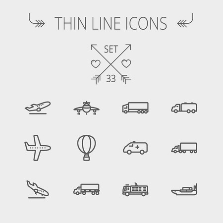 Transportation thin line icon set for web and mobile. Set includes- fire truck, trucks, plane, ships, hot air balloon icons. Modern minimalistic flat design. Vector dark grey icon on light grey background. Иллюстрация