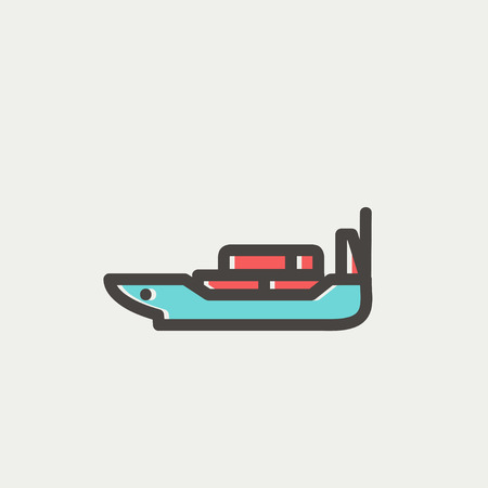 Cargo ship with container icon thin line for web and mobile, modern minimalistic flat design. Vector icon with dark grey outline and offset colour on light grey background.